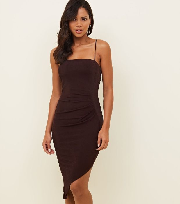 burgundy-ruched-asymmetric-bodycon-dress