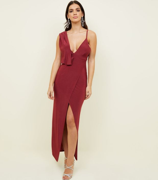 burgundy-slinky-drape-front-maxi-dress-